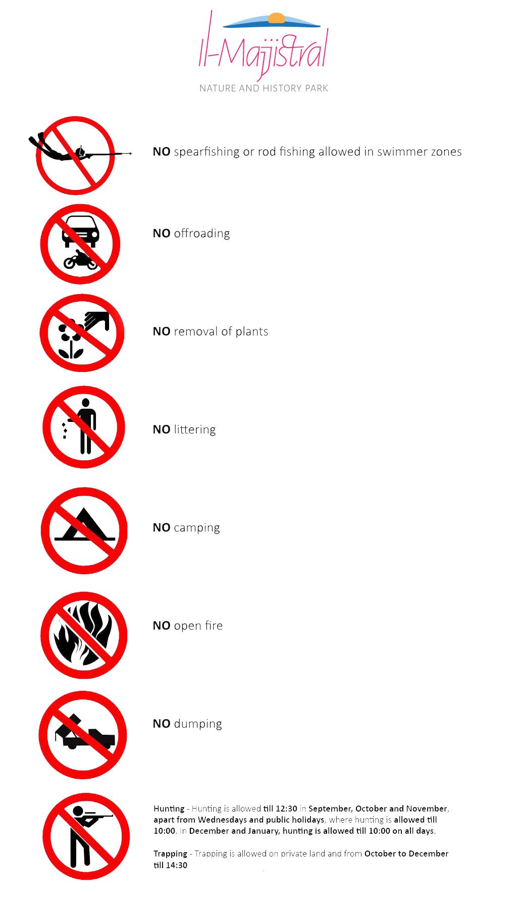 Majjistral Park Regulations