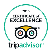 Certificate of Excellence by Tripadvisor 2016
